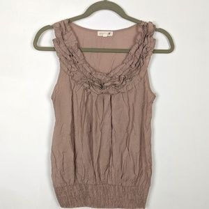 Anthropologie Mine Ruffle Neck Tank Taupe Shimmery